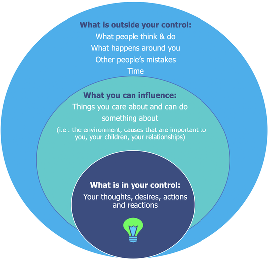 Picture of Infographic showing what is outside our control, inside our control and what we can influence