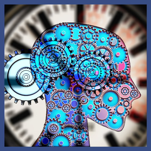 Picture of a head with cogs in a wheel indicating the mind and mindset