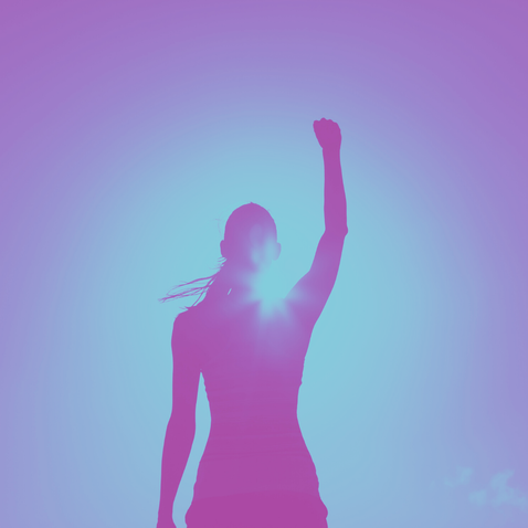 Picture of a silhouette of woman raising her arm triumphantly in the air indicating self-confidence