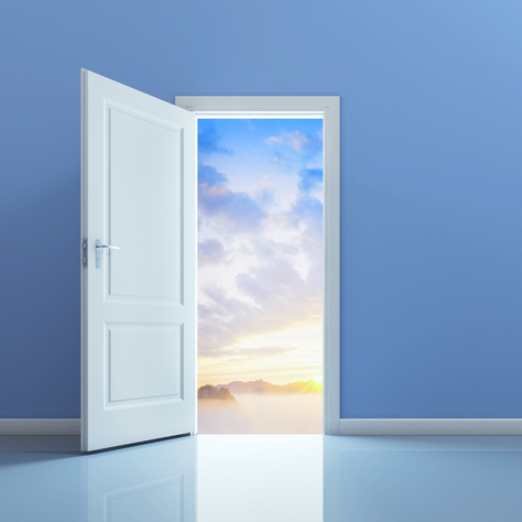 Picture of an open door showing a sunrise. Metaphor of what it would like like when letting go of the fear of losing control